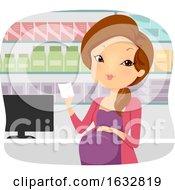 Poster, Art Print Of Girl Pregnant Pharmacy Prescription Illustration