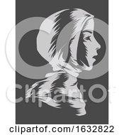 Girl Muslim Hijab Stencil Illustration