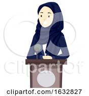 Girl Hijab Business Speaker Qatar Illustration