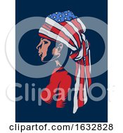 Poster, Art Print Of Girl Head Dress American Flag Illustration
