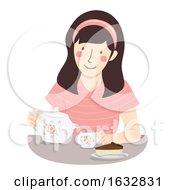 Poster, Art Print Of Girl Drink Tea Cake Illustration