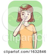 Girl Sensitive Smell Illustration