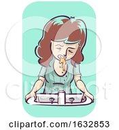 Poster, Art Print Of Girl Morning Sickness Vomit Illustration