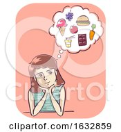 Girl Food Cravings Illustration
