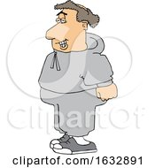 Cartoon Chubby Balding White Male Jogger In Sweats