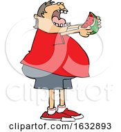 Cartoon Chubby White Boy Eating A Watermelon