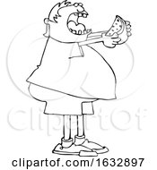 Poster, Art Print Of Cartoon Black And White Chubby Boy Eating A Watermelon