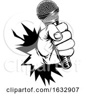 Poster, Art Print Of Hand Holding Microphone Breaking Background