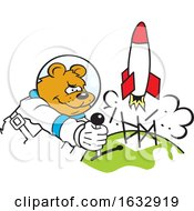 Cartoon Determined Astronaut Bear Launching A Rocket by Johnny Sajem