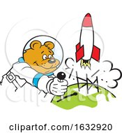 Cartoon Astronaut Bear Launching A Rocket by Johnny Sajem