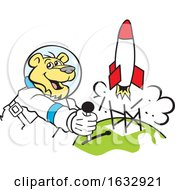 Cartoon Astronaut Cougar Launching A Rocket