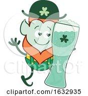 Poster, Art Print Of St Patricks Day Leprechaun Holding A Giant Glass Of Beer