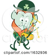 Poster, Art Print Of St Patricks Day Leprechaun Playing Bagpipes