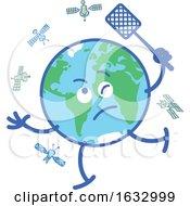 Poster, Art Print Of Earth Globe Character Swatting At Satellites