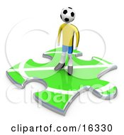 Lone Soccer Player With A Ball As A Head Standing On A Green Puzzle Piece With Part Of A Field Symbolizing Only Part Of A Team by 3poD