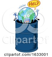 Poster, Art Print Of Earth Globe Character Asking For Help While Drowning In An Oil Barrel