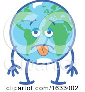 Poster, Art Print Of Earth Globe Character With An Exhausted Expression