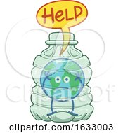 Poster, Art Print Of Earth Globe Character Trapped In A Plastic Bottle
