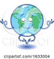 Poster, Art Print Of Earth Globe Character Meditating