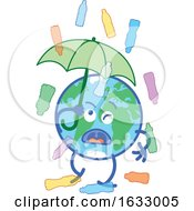 Poster, Art Print Of Earth Globe Character Holding An Umbrella In Rain Of Water Bottles