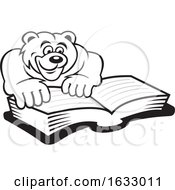 Cartoon Black And White Bear Reading A Book