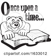 Cartoon Black And White Once Upon A Time Text Over A Bear Reading A Book