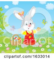 Poster, Art Print Of Easter Bunny With A Basket Of Eggs