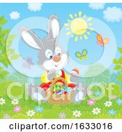 Easter Bunny Sitting With A Basket Of Eggs