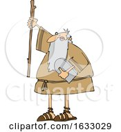 Cartoon Moses Holding Up A Stick And The Ten Commandments Tablet