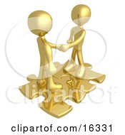Poster, Art Print Of Two Gold People Shaking Hands While Standing On Connected Gold Puzzle Pieces Symbolizing Teamwork Deals And Link Exchanges For Seo Website Marketing