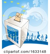 European Ballot Box And Silhouetted People Against A Map