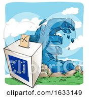 Crumbling Euro Currency Symbol And Ballot Box