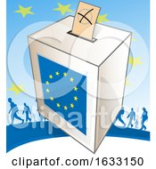 European Ballot Box And Silhouetted People Against Stars