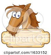 Poster, Art Print Of Brown Horse Over A Wood Sign