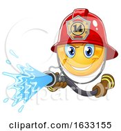 Yellow Emoticon Smiley Emoji Fire Fighter Using A Hose