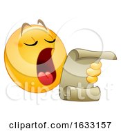 Poster, Art Print Of Yellow Emoticon Smiley Emoji Making An Announcement