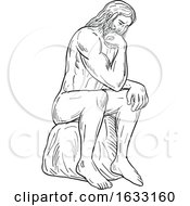Man With Beard Sitting Thinking Drawing Black And White