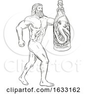 Hercules With Bottled Up Angry Octopus Drawing Black And White