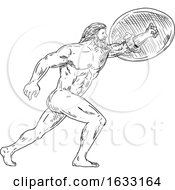 Hercules With Shield Urging Forward Drawing Black And White