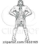 Hercules Hold Bottle Octopus Inside Drawing Black And White