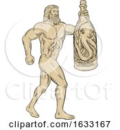 Hercules With Bottled Up Angry Octopus Drawing