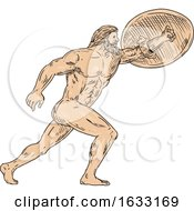Hercules With Shield Going Forward Drawing by patrimonio