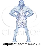 Hercules Holding Bottle With Octopus Inside Drawing by patrimonio