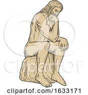 Man With Beard Sitting Thinking Drawing