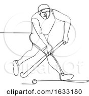 Field Hockey Player Continuous Line