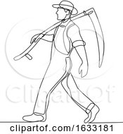 Organic Farmer Walking Scythe Continuous Line