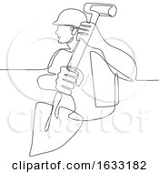 Poster, Art Print Of Construction Worker Spade Continuous Line