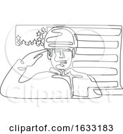 Poster, Art Print Of American Soldier Saluting Usa Flag Continuous Line