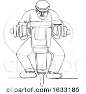 Poster, Art Print Of Construction Worker Jackhammer Continuous Line