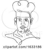 Chef Wearing Toque Hat Continuous Line